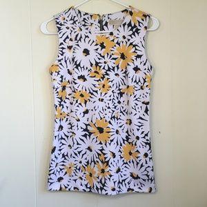 White Black Yellow Floral Sleeveless Top